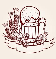 ornate beer mug vector image vector image