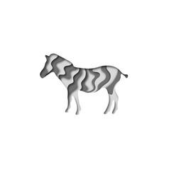 Paper cut zebra safari animals shape 3d origami vector