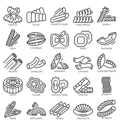 Pasta icon set outline style vector