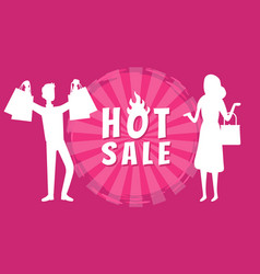 people with shop bags on background hot sale vector image