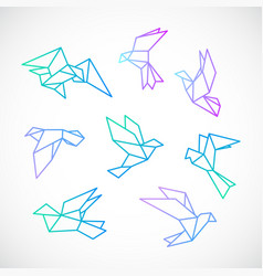 Poligonal dove stylized flying dove birds set vector