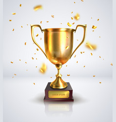 Prize cup on a white background with confetti vector