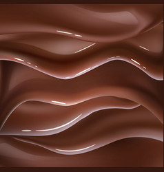 Realistic chocolate liquid wave background vector