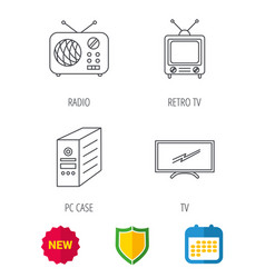 Retro tv radio and pc case icons vector