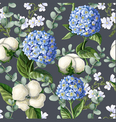 Seamless pattern with hydrangea cotton flowers vector