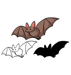 Set bat cartoon vector