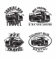 set bus travel company logo designs vector image