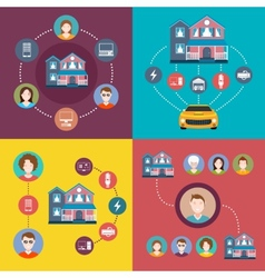 Set of elements infographics smart home vector