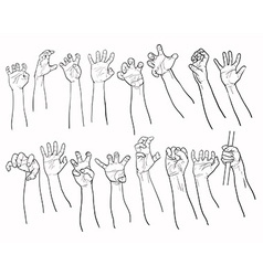 Set of hands in many gesture vector image
