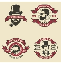 Set of mans club labels vector image