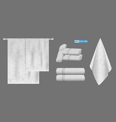 Set of realistic white towel isolated vector