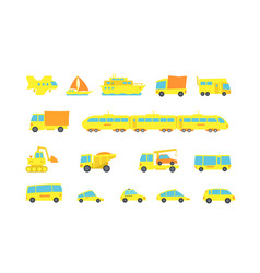 set yellow child transport variety machines cargo vector image