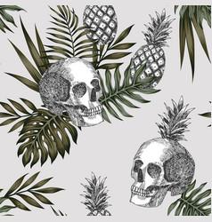 skull pineapple light background vector image