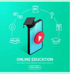 smartphone graduation cap icons text vector image