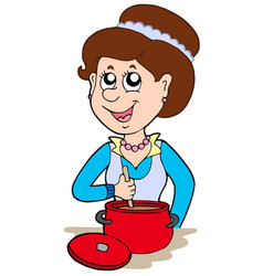 Smiling woman cooking at home vector