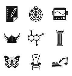 study of antiquities icons set simple style vector image