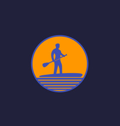Sup stand up paddle surf board logo vector