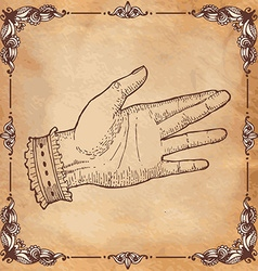 The holding hand with open palm gesture vector image