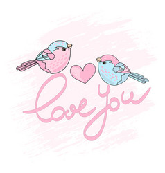 valentine birds spring cartoon vector image