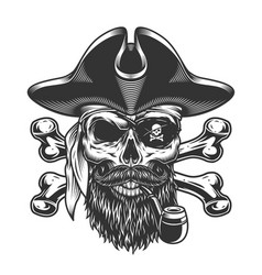 Vintage bearded and mustached pirate skull vector