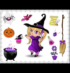 violet halloween cartoon set of objects for vector image