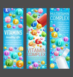 Vitamin complex and multivitamin pills banners vector