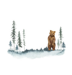 watercolor christmas card with bear vector image