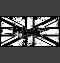White silhouette military fighter jets vector