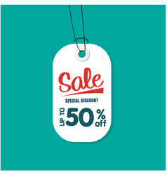 white tag sale special discount up to 50 off vect vector image