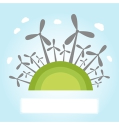 Wind power plants on hill vector image