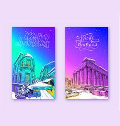winter city acropolis athens parthenon vector image