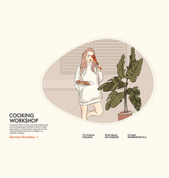 Woman cooking supper home style chef vector
