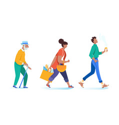 young woman and man with grandfather walking go vector image