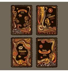 autumn cartoon cards design vector image