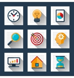 Business icons set in flat style vector image