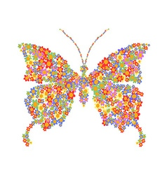 butterfly shape with flowers vector image vector image