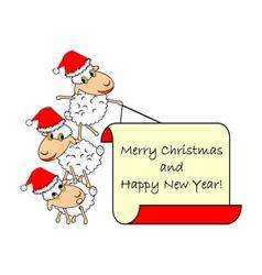 Funny Christmas cartoon sheep vector image vector image