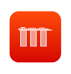 marina bay sands hotel singapore icon digital red vector image vector image