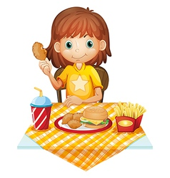 A young girl eating at the fastfood restaurant vector image vector image