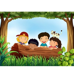 Children and forest vector image vector image