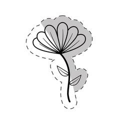 cute flower bloom cut line vector image
