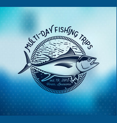 fishing labels badges emblems and design vector image vector image