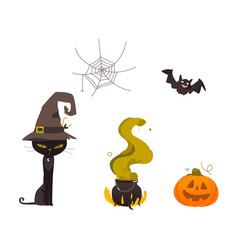 halloween pumpkin cat witch hat web cauldron vector image vector image