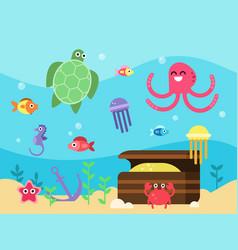 set of underwater landscape vector image