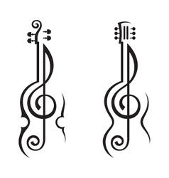 violin guitar and treble clef vector image vector image