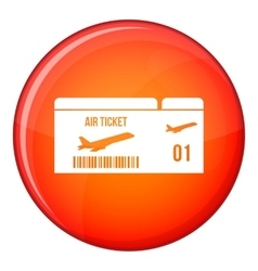Airline boarding pass icon flat style vector image