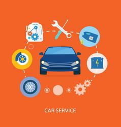 Auto mechanic service flat icons of maintenance vector image vector image