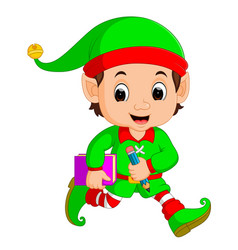 cartoon elf holding book and pencil vector image