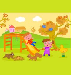 kids in park in autumn vector image vector image