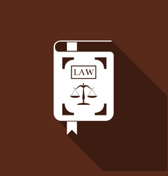 law book statute book with scales of justice icon vector image vector image